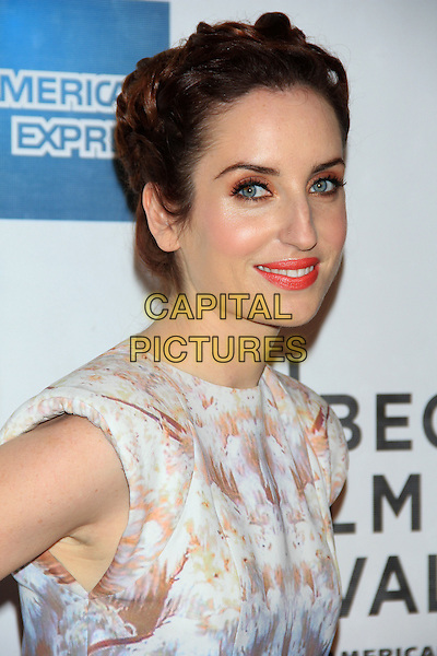 "Zoe Lister-Jones.The 2012 Tribeca Film Festival World Premiere of ""Lola Versus"" at the Tribeca Performing Arts Center, New York, NY, USA..April 24th, 2012.headshot portrait white beige print side pink lipstick .CAP/LNC/TOM.©LNC/Capital Pictures."