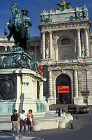 AJ2157, Vienna, Austria, Europe, People standing in front of a statue at the Imperial Palace (Hofburg) in downtown Vienna.