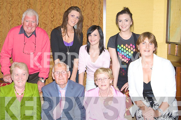 80th: celebration were in full swing on Saturday as Charles Greenfield Brendans Park, Tralee celebrated his 80th Birthday, Front l-r: Betty Cawley, Charles Greenfield(birthday girl), Catherine Greenfield and Marian McCarthy. Back l-r: Pat Cawley, Michelle, Claire and Deirdre McCarthy..