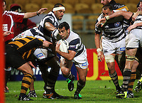 Auckland flanker Onosai'i Auva'a spots a gap and heads for the tryline. Air New Zealand Cup rugby match - Taranaki v Auckland at Yarrows Stadium, New Plymouth, New Zealand. Friday 9 October 2009. Photo: Dave Lintott / lintottphoto.co.nz