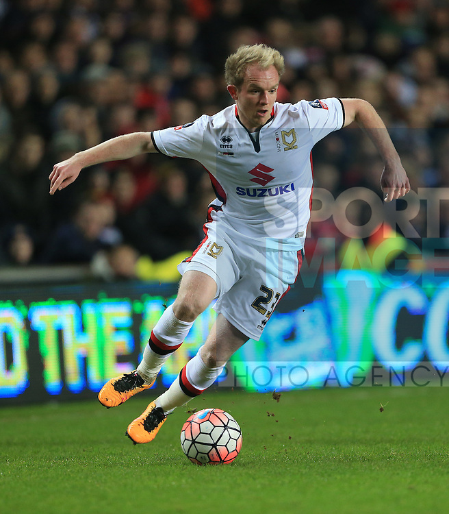 Mk Dons Jonny Williams in action<br /> <br /> FA Cup Fourth Round - Milton Keynes Dons vs Chelsea - Stadium MK - England - 31st January 2016 - Picture David Klein/Sportimage