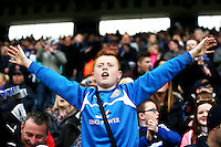A passionate Leicester fan sings during the Barclays Premier League match between Leicester City and Swansea City played at The King Power Stadium, Leicester on April 24th 2016