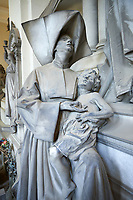 "Picture and image of the stone sculptures of angels and a Sister of Charity. in memory of the surgeon Luigi Pastorini, the sculptor Navone has conceived a complex allegory, in which a feminine winged figure, representing the Medicine, distributes some wealth to a Sister of Charity who holds an ill baby. She is helped by another winged figure, the Munificence, whose regard is turned towards the deceased. The ""Cappellone"" Sisters – they are so named because of their large head covering – were so committed to provide aid to the poor that they have become the symbol of the assistance to the needy. Navone has succeeded in harmonizing the Medicine allegory and its delicacy with the raw representation of the poor people: in fact, as from the middle years of the bourgeois realism, the poor were portrayed in a very realistic way, without any idealization. Sculpted by G. Navone 1902. Section A, no 28,  The monumental tombs of the Staglieno Monumental Cemetery, Genoa, Italy"