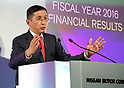 May 11, 2017, Yokohama, Japan - Japan's automobile giant Nissan Motor president Hiroto Saikawa announces the company's financial result ended March 31 at the company's headquarters in Yokohama, suburban Tokyo on Thursday, May 11, 2017. Nissan said its operating profit was 742 billion yen, down 6.4 percent from previous year.   (Photo by Yoshio Tsunoda/AFLO) LwX -ytd-