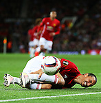 Zlatan Ibrahimovic of Manchester United picks up a knock during the UEFA Europa League match at Old Trafford Stadium, Manchester. Picture date: September 29th, 2016. Pic Matt McNulty/Sportimage