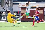 Stockholm 2015-07-11 Fotboll Damallsvenskan Hammarby IF DFF - Vittsj&ouml; GIK :  <br /> Hammarbys Clara Markstedt g&ouml;r 2-2 bakom Vittsj&ouml;s m&aring;lvakt Shannon Lynn under matchen mellan Hammarby IF DFF och Vittsj&ouml; GIK <br /> (Foto: Kenta J&ouml;nsson) Nyckelord:  Fotboll Damallsvenskan Dam Damer Zinkensdamms IP Zinkensdamm Zinken Hammarby HIF Bajen Vittsj&ouml; GIK