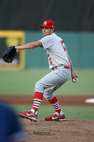 April 13, 2009:  Pitcher Shaun Garceau (12) of the Palm Beach Cardinals, Florida State League Class-A affiliate of the St. Louis Cardinals, delivers a pitch during a game at Hammond Stadium in Fort Myers, FL.  Photo by:  Mike Janes/Four Seam Images