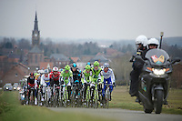 Gent-Wevelgem 2013.The Cannondale boys lead the peloton (for Peter Sagan) in chasing the leading trio