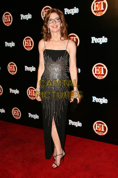 DANA DELANY.Entertainment Tonight Emmy  after party Hosted by People, held The Walt Disney Concert Hall, Los Angeles, California, USA..September 21st, 2008.full length long maxi black dress slit split silver beads beaded pattern dress glasses .CAP/ADM/FS.©Faye Sadou/AdMedia/Capital Pictures.