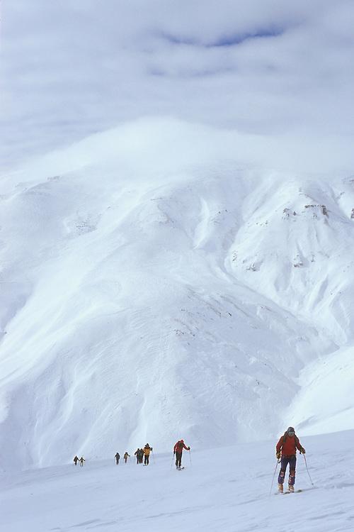 Ski touring above Vardahovit, Armenia, February 2014