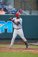 Reniel Ozuna (27) of the Greeneville Reds at bat against the Pulaski Yankees at Calfee Park on June 23, 2018 in Pulaski, Virginia. The Reds defeated the Yankees 6-5.  (Brian Westerholt/Four Seam Images)