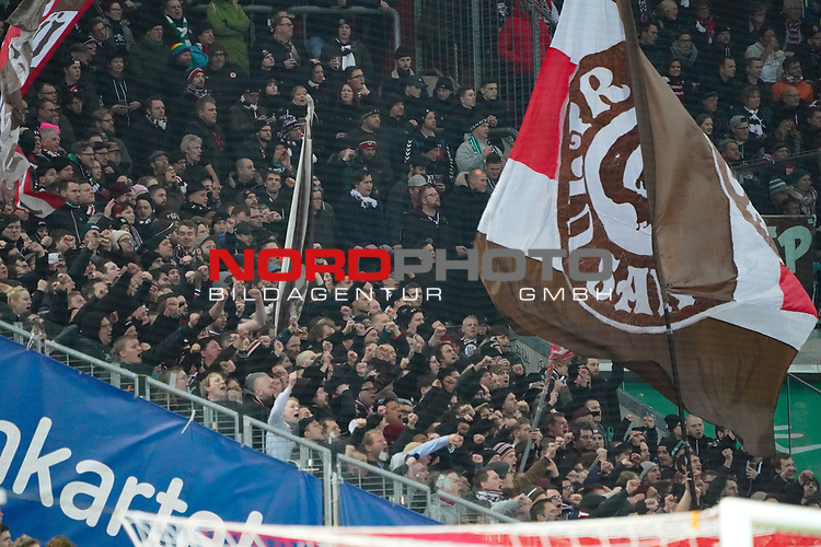 08.02.2019, RheinEnergieStadion, Koeln, GER, 2. FBL, 1.FC Koeln vs. FC St. Pauli,<br />  <br /> DFL regulations prohibit any use of photographs as image sequences and/or quasi-video<br /> <br /> im Bild / picture shows: <br /> Fans, freundlich, Stimmung, farbenfroh, Nationalfarbe, geschminkt, Emotionen, st pauli<br /> <br /> Foto © nordphoto / Meuter