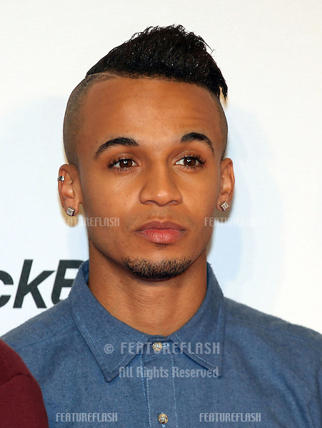Aston Merrygold from JLS arriving for the Capital Radio Jingle Bell Ball, O2 Arena, London. 08/12/2012 Picture by: Alexandra Glen / Featureflash