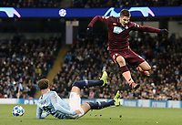1899 Hoffenheim's Andrej Kramaric is tackled by Manchester City's Kyle Walker<br /> <br /> Photographer Rich Linley/CameraSport<br /> <br /> UEFA Champions League Group F - Manchester City v TSG 1899 Hoffenheim - Wednesday 12th December 2018 - The Etihad - Manchester<br />  <br /> World Copyright © 2018 CameraSport. All rights reserved. 43 Linden Ave. Countesthorpe. Leicester. England. LE8 5PG - Tel: +44 (0) 116 277 4147 - admin@camerasport.com - www.camerasport.com