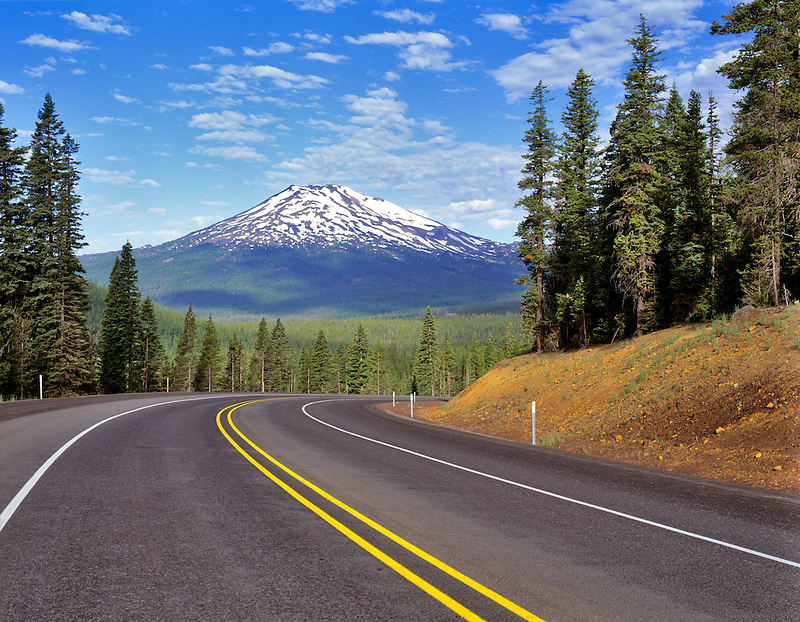 Century Drive and Mount Bachelor with winter snow. Oregon.