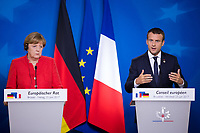 Le Pr&eacute;sident fran&ccedil;ais Emmanuel Macron et la chanceli&egrave;re allemande Angela Merkel font une conf&eacute;rence de presse lors du Sommet Europ&eacute;en &agrave; Bruxelles.<br /> Belgique, Bruxelles, 23 juin 2017.<br /> French President Emmanuel Macron and German Chancellor Angela Merkel give a press conference during the European Council in Brussels.<br /> Belgium, Brussels, 23 June, 2017.
