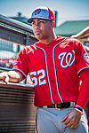 29 February 2020: Washington Nationals top prospect infielder Luis Garcia in the dugout during a Spring Training game against the St. Louis Cardinals at Roger Dean Stadium in Jupiter, Florida. The Cardinals defeated the Nationals 6-3 in Grapefruit League play. Mandatory Credit: Ed Wolfstein Photo *** RAW (NEF) Image File Available ***