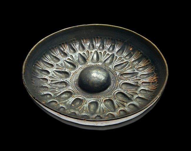250 - 150 B.C Etruscan phiale or patera, or wine drinking bowl, produced in Calena, inv 4566,  National Archaeological Museum Florence, Italy , black background