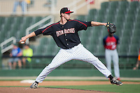 Kannapolis Intimidators relief pitcher David Trexler (27) in action against the Hagerstown Suns at CMC-Northeast Stadium on August 16, 2015 in Kannapolis, North Carolina.  The Suns defeated the Intimidators 7-2 in game one of a double-header.  (Brian Westerholt/Four Seam Images)