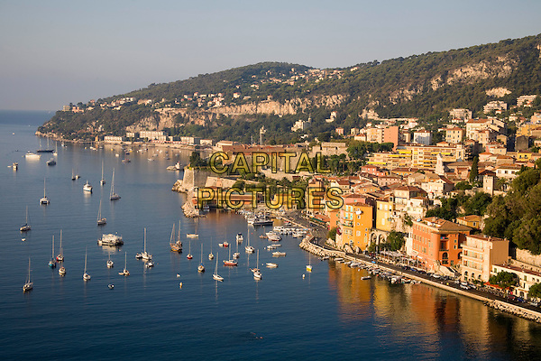 Villefranche-Sur-Mer harbour, town and coastline, Villefranche, French Riviera, France