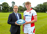 Monday 12th August 2019 | Ulster Schools U18<br /> <br /> Campbell College Belfast and Ulster Schools U18 player Jack Boal is pictured with Richard Caldwell representing the sponsors Danske Bank during a photo call at the Ulster Schools training base at Newforge Country Club, Belfast, Northern Ireland. Photo by John Dickson / DICKSONDIGITAL