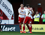 Che Adams of Sheffield Utd celebrates his and Utd's first goal during the Sky Bet League One match at Bramall Lane Stadium. Photo credit should read: Simon Bellis/Sportimage