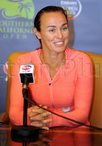 31.07.2013.la Costa Country Club, Carlsbad, California, USA.  Martina Hingis (SUI) talks with the media about her return to tennis playing doubles, coaching, her clothing line and other topics during the Southern California Open played at the La Costa Resort & Spa in Carlsbad CA.