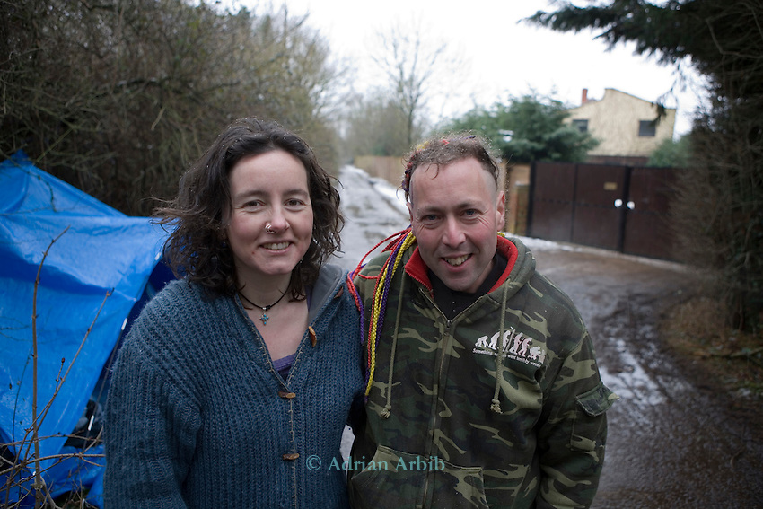 Miriam and The Ant ( a veteran protester of 7 years)  at Camp Kylie outside the gates of Sandles now occupied by  N power.<br />RWE N power want to fill Radley Lake H a noted wildlife site with fly ash from Didcot power station.