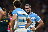 Juan Figallo of Argentina looks on during a break in play. Rugby World Cup Bronze Final between South Africa and Argentina on October 30, 2015 at The Stadium, Queen Elizabeth Olympic Park in London, England. Photo by: Patrick Khachfe / Onside Images