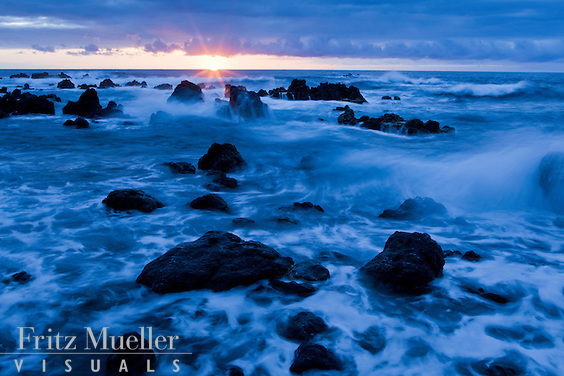 Sunset on the Hamakua Coast, Big Island, Hawaii
