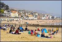 BNPS.co.uk (01202 558833)<br /> Pic: Graham Hunt/BNPS.<br /> <br /> The Seagulls have landed...<br /> <br /> Lyme Regis council have come up with a cunning plan to rid the Dorset seaside town of its seagull menace this Easter - they've recruited two huge bald eagles to patrol the genteel resort.<br /> <br /> Tourism bosses fear over aggressive seagulls are scaring away visitors and have hired the two fearsome birds of prey to patrol the beaches and promenades this Easter.<br /> <br /> Like many coastal resorts, Lyme Regis in Dorset has a longstanding problem with angry gulls attacking tourists and pinching their chips and ice creams.<br /> <br /> Initial reports after the first deployment of eagles Winnie and Kojak yesterday suggest that the Seagull's are now keeping their distance.