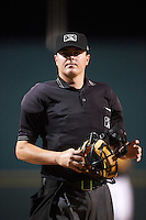 Umpire Jordan Johnson during a game between the Palm Beach Cardinals and Bradenton Marauders on August 8, 2016 at McKechnie Field in Bradenton, Florida.  Bradenton defeated Palm Beach 5-4 in 11 innings.  (Mike Janes/Four Seam Images)