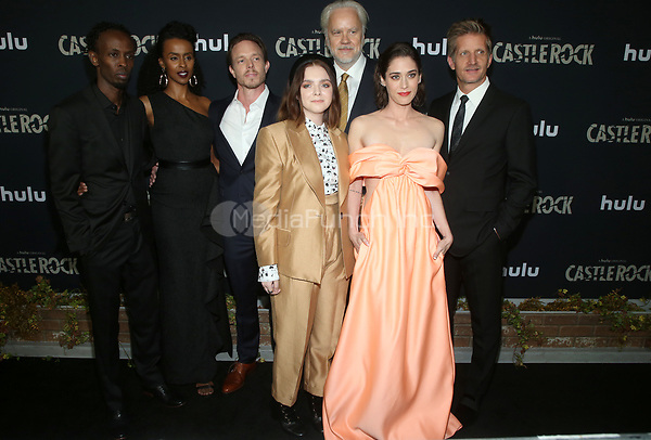 "14 October 2019 - Los Angeles, California - Barkhad Abdi, Yusra Warsama, Matthew Alan, Elsie Fisher, Lizzy Caplan, Tim Robbins, Paul Sparks, Tom Riley. Premiere Of Hulu's ""Castle Rock"" Season 2 held at The AMC Sunset 5. Photo Credit: FayeS/AdMedia /MediaPunch"