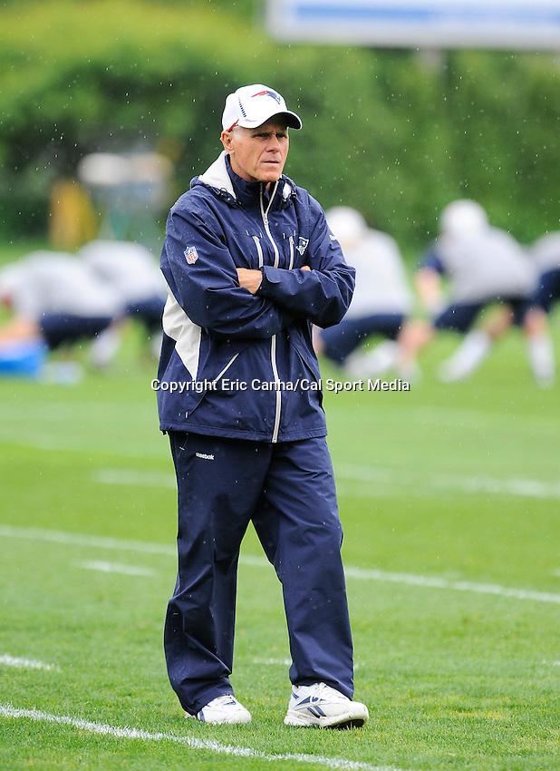 June 13 2012 New England Patriots assistant head coach / offensive line coach Dante Scarnecchia during the New England Patriots mini camp held at Gillette Stadium, in  Foxborough, Massachusetts. Eric Canha/CSM