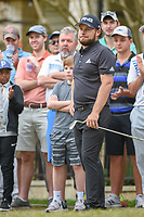 Tyrrell Hatton (ENG) reacts to his chip from the gallery on 5 during day 4 of the WGC Dell Match Play, at the Austin Country Club, Austin, Texas, USA. 3/30/2019.<br /> Picture: Golffile | Ken Murray<br /> <br /> <br /> All photo usage must carry mandatory copyright credit (© Golffile | Ken Murray)