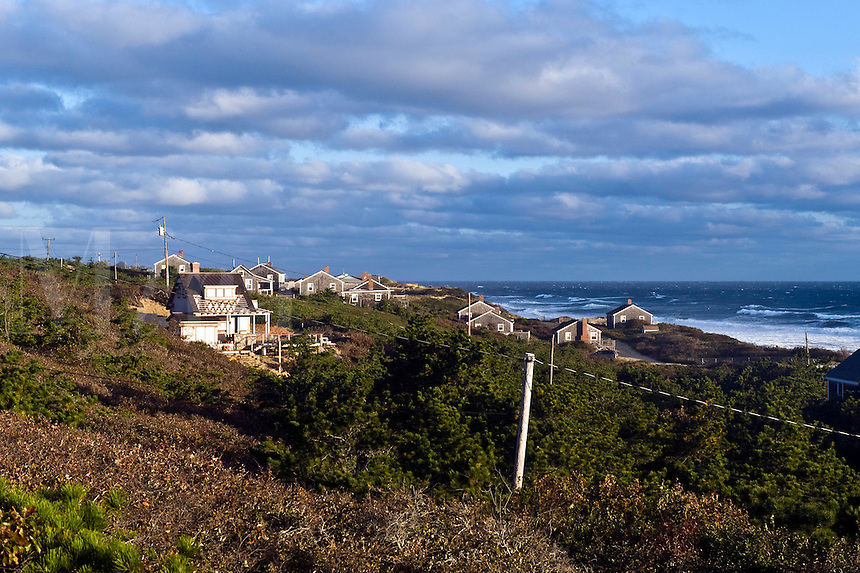 Waterfront houses overlooking the Cape Cod National Seashore, Wellfleet, Cape Cod, MA, USA