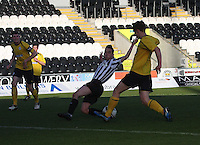 Anton Brady narrowly misses the ball and Tyler Fulton clears in the St Mirren v Falkirk Clydesdale Bank Scottish Premier League Under 20 match played at St Mirren Park, Paisley on 30.4.13.