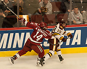 Alexander Kerfoot (Harvard - 14), Karson Kuhlman (UMD - 20) - The University of Minnesota Duluth Bulldogs defeated the Harvard University Crimson 2-1 in their Frozen Four semi-final on April 6, 2017, at the United Center in Chicago, Illinois.