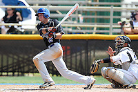 Brevard County CC Anthony Siler #2 at bat in front of catcher Jacob Bogaards #23 during a game against Miami-Dade at Miami-Dade Community College on March 26, 2011 in Miami, Florida.  Photo By Mike Janes/Four Seam Images