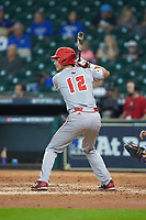 Jonathan Windham (12) of the Louisiana Ragin' Cajuns at bat against the Kentucky Wildcats in game seven of the 2018 Shriners Hospitals for Children College Classic at Minute Maid Park on March 4, 2018 in Houston, Texas.  The Wildcats defeated the Ragin' Cajuns 10-4. (Brian Westerholt/Four Seam Images)
