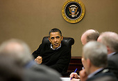 President Barack Obama is briefed on the events in Egypt during a meeting with his national security team in the Situation Room of the White House, Saturday, Jan. 29, 2011..Mandatory Credit: Pete Souza - White House via CNP