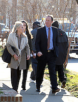 CHARLOTTESVILLE, VA - FEBRUARY 15: Family members of George Huguely walk outside the Charlottesville Circuit courthouse for the George Huguely trial. Huguely was charged in the May 2010 death of his girlfriend Yeardley Love. She was a member of the Virginia women's lacrosse team. Huguely pleaded not guilty to first-degree murder. (Credit Image: © Andrew Shurtleff