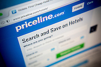 The Priceline travel website is seen on Tuesday, February 28, 2017.  The Priceline Group reported fourth quarter earnings beating analysts' expectations citing increased hotel bookings.  (© Richard B. Levine)