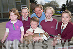 Pupils from Fossa NS with the kid goat which has been named Fossa and will be going to Uganda in East Africa as part of Bothar relief efforts there l-r: Aoibhe Coughlan, Maeve O'Brien, Ruairi Coughlan, Michael O'Shea, Rachel Brooks, Molly Kelly when he visited the school on Thursday....