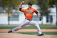Baltimore Orioles pitcher Ruben Garcia (75) delivers a pitch during a minor league Spring Training game against the Minnesota Twins on March 17, 2017 at the Buck O'Neil Baseball Complex in Sarasota, Florida.  (Mike Janes/Four Seam Images)