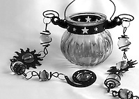 """Black & white fine art stock photo of beautiful candle holder glass pot with metal strings.<br /> <br /> To view the same image in color visit the gallery-""""Food & Other Still Life""""."""