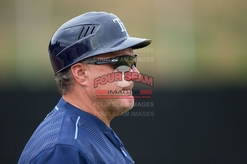 Princeton Rays manager Danny Sheaffer (29) coaches third base during the game against the Danville Braves at American Legion Post 325 Field on June 25, 2017 in Danville, Virginia.  The Braves walked-off the Rays 7-6 in 11 innings.  (Brian Westerholt/Four Seam Images)