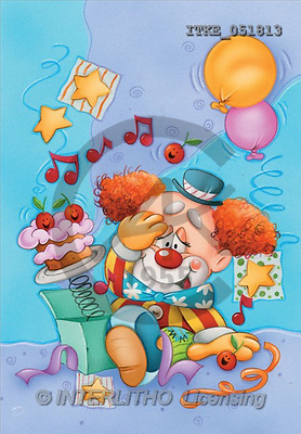 Isabella, CUTE ANIMALS, paintings, clown, balloons(ITKE051813,#AC#) illustrations, pinturas ,everyday
