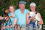 Meghane and Lorriane McCann, from Kilmorna, Listowel with their dogs Buster and Doodger are joined by P J O' Connor, Ballylongford for a picture at the Ballyduff  horse fair .on Sunday..   Copyright Kerry's Eye 2008