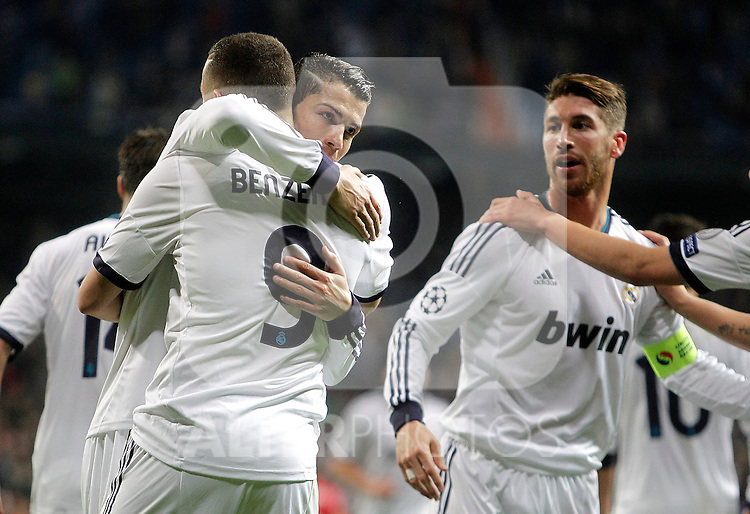 Real Madrid's Karim Benzema celebrates with Cristiano Ronaldo and Sergio Ramos during UEFA Champions League match. April 03, 2013. (ALTERPHOTOS/Alvaro Hernandez)